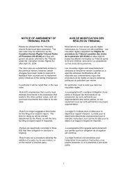 notice of amendment of tribunal rules avis de modification des ...