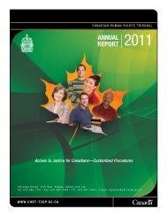 AnnuAl RepoRt 2011 - Tribunal canadien des droits de la personne