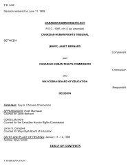 TABLE OF CONTENTS - Tribunal canadien des droits de la personne