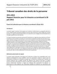 CHRT Quarterly Financial Report - Tribunal canadien des droits de ...