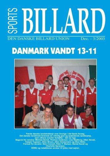 DANMARK VANDT 13-11 - Den Danske Billard Union