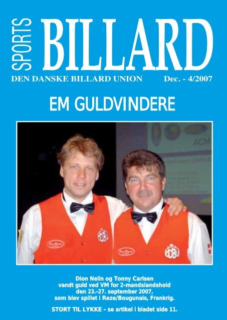 EM GULDVINDERE - Den Danske Billard Union