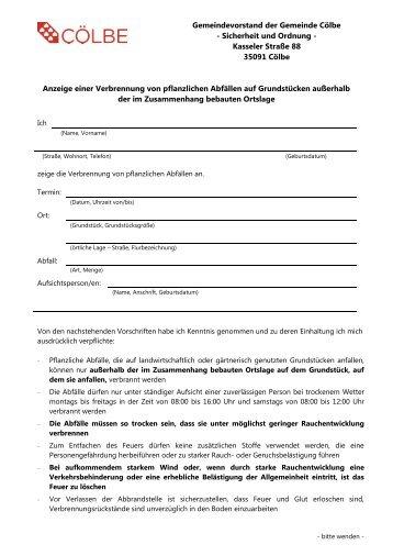 Anzeige einer Verbrennung von pflanzlichen ... - Gemeinde Cölbe