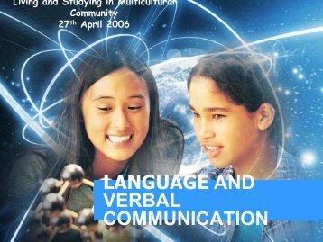 LANGUAGE AND VERBAL COMMUNICATION