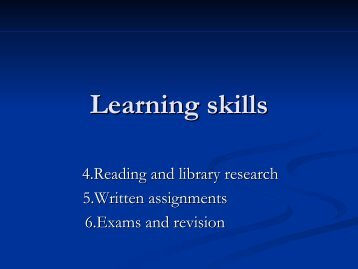 Presentation Learning Skills II