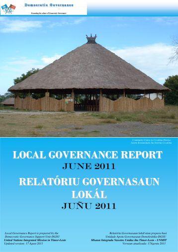 local governance report relatóriu governasaun lokál - Unmit