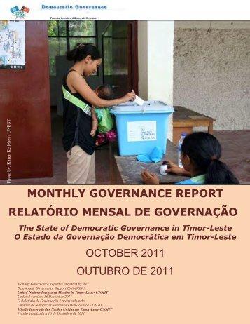 monthly governance report relatório mensal de governação ... - Unmit