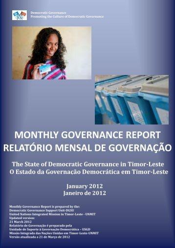 monthly governance report relatório mensal de governação - Unmit