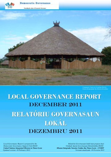 local governance report relatóriu governasaun lokál - Unmit
