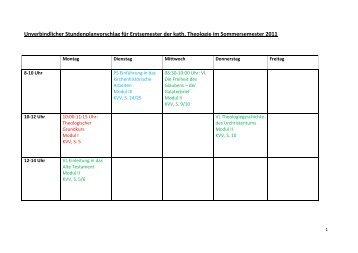 Unverbindlicher Stundenplanvorschlag für Erstsemester der kath ...