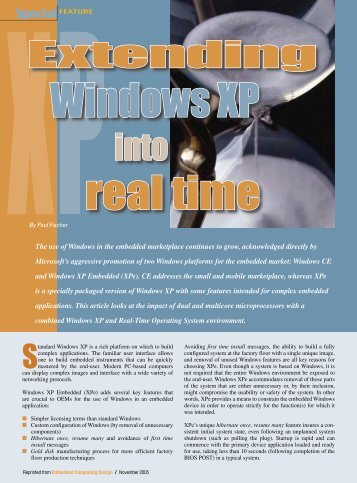 TenAsys - Extending Windows XP into real time - Embedded ...