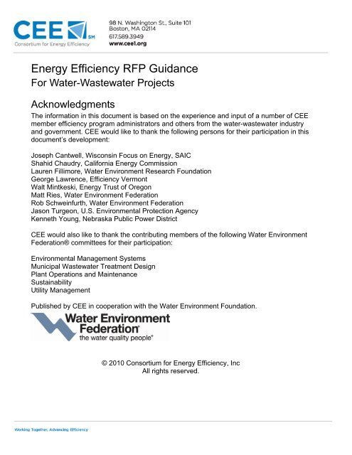 Energy Efficiency RFP Guidance for Water-Wastewater Projects