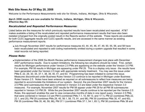 Web Site News As Of May 20, 2008 - AT&T Clec Online