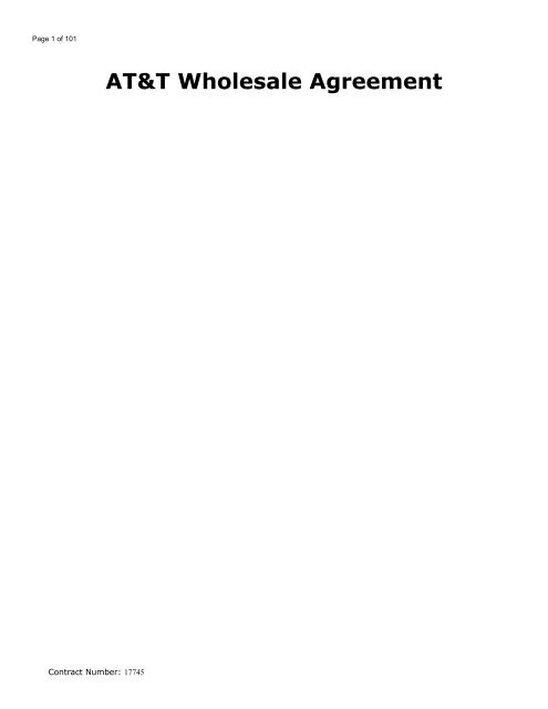 AT&T Wholesale Agreement - AT&T Clec Online