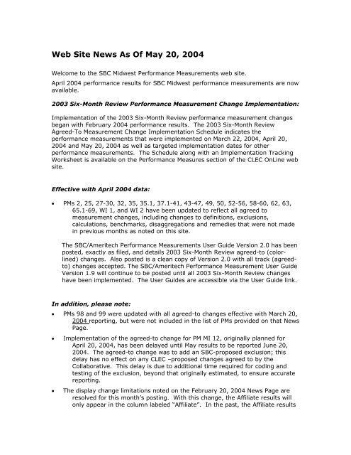 Web Site News As Of May 20, 2004 - AT&T Clec Online