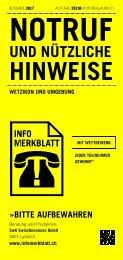 Infomerkblatt Wetzikon und Umgebung