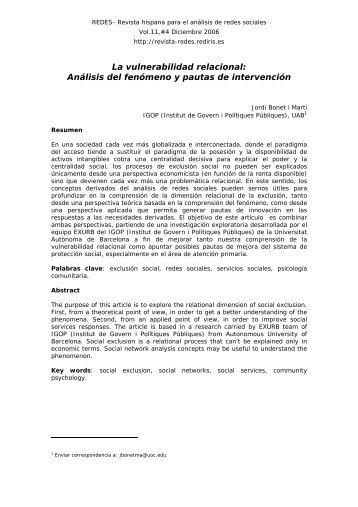 La vulnerabilidad relacional: Análisis del fenómeno y pautas ... - Raco