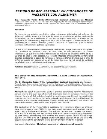 estudio de red personal en cuidadores de pacientes con azheimer
