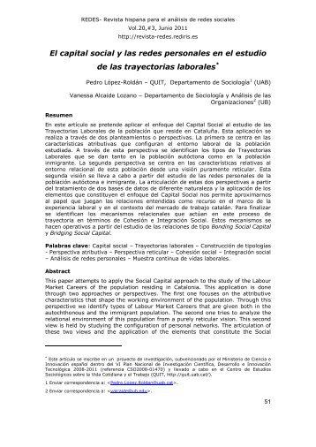 El capital social y las redes personales en el estudio de las ... - Raco