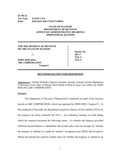 ST 98-24 - Interstate Sales (Non-Verified) - Illinois