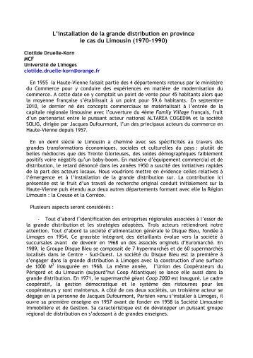 L'installation de la grande distribution en province le cas du Limousin