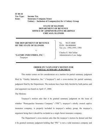 Illinois Department of Revenue Regulations Title 86 Part 100 ...
