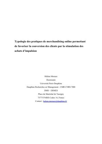 Typologie des pratiques de merchandising online permettant de ...