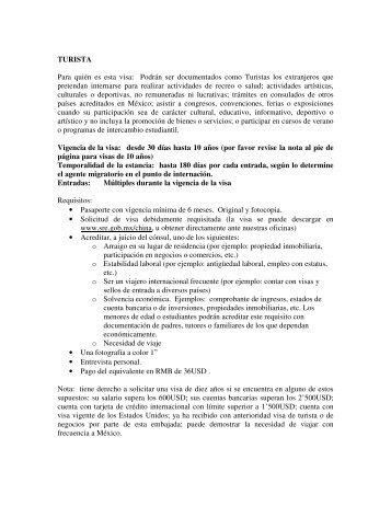 TURISTA Para quién es esta visa - Secretaría de Relaciones ...