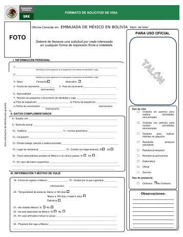 Formulario de solicitud de visa