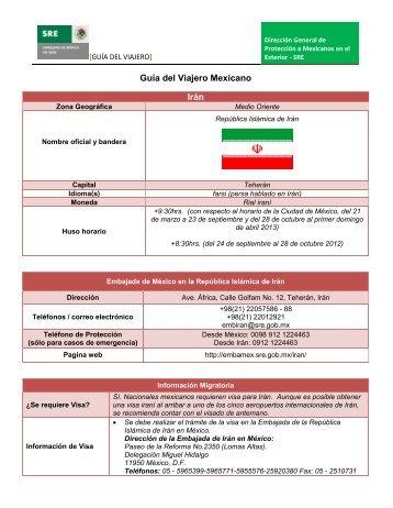 Guía del Viajero Mexicano Irán - Secretaría de Relaciones Exteriores