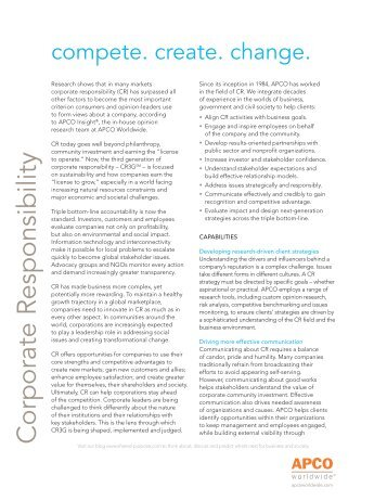 Corporate Responsibility & Sustainable Growth - APCO Worldwide