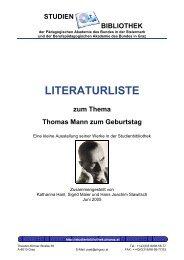 Thomas Mann - Studienbibliothek der Pädagogischen Hochschule ...