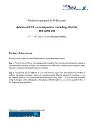 Advanced LCA ? consequential modelling, IO-LCA, and Land-use