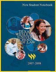 student notebook 2007-08.indd - Texas Wesleyan School of Law ...