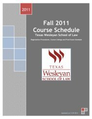 Fall 2011 Course Schedule - Texas Wesleyan School of Law