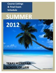 Summer 2012 Course Schedule - Texas Wesleyan School of Law