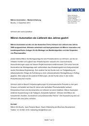 Mikron Automation als Lieferant des Jahres geehrt