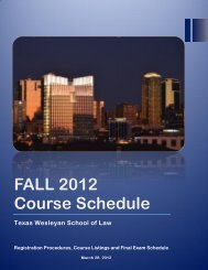 FALL 2012 Course Schedule - Texas Wesleyan School of Law