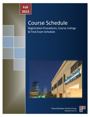 Course Schedule - Texas Wesleyan School of Law