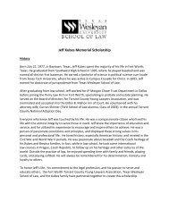 Jeff Kubes Memorial Scholarship - E-Legal News - Texas Wesleyan ...
