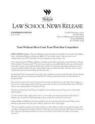 LAWSCHOOLNEWSRELEASE - Texas Wesleyan School of Law ...