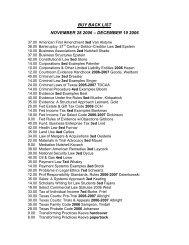 BUY BACK LIST NOVEMBER 28 2006 – DECEMBER 19 2006