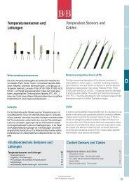 Temperatursensoren und Leitungen ... - Temperatur-Shop