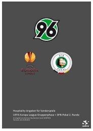 Hospitality-Angebot für Sonderspiele UEFA Europa ... - Hannover 96