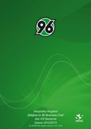 """Hospitality-Angebot """"Mitglied im 96 Business Club ... - Hannover 96"""