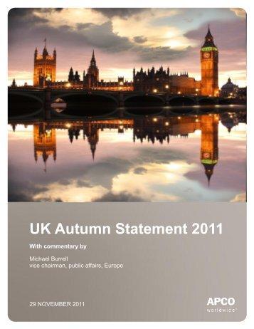UK Autumn Statement 2011 - APCO Worldwide