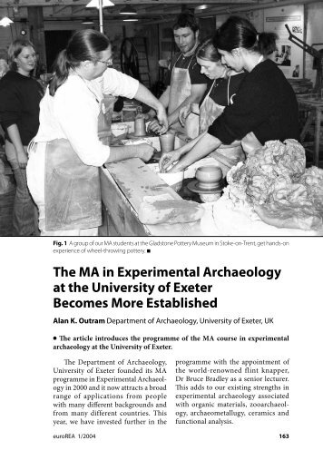 The MA in Experimental Archaeology at the ... - EXARC - Journal