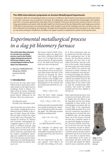 Experimental metallurgical process in a slag pit ... - EXARC - Journal