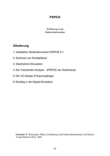 PSPICE Gliederung
