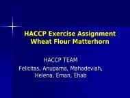 HACCP Exercise Assignment Wheat Flour Matterhorn